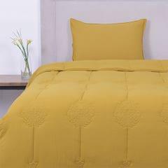 Plumón SoHome by Fabrics 1,5 Plazas Bordado Amarillo Deco