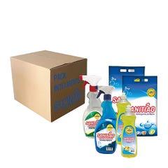 Pack Limpieza Sanitiao Antigrasa 1Lt, Limpiavidrios 1Lt, Lavalozas 1,5Lts, Detergente 6Kg
