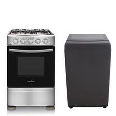 Cocina a Gas Mabe CMC20AXX 4 Quemadores + Lavadora Midea 9 Kilos MLS-090GE04N