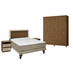 Box bamboo alicante 2 plazas respaldo 2 veladores + Closet 6 puertas 2 cajones alto 1,82 color