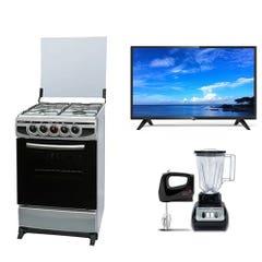 Cocina CH-7400 4P + LED 32 KHHD3221 Smart TV Android + Combo Licuadora + Batidora