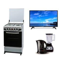 Cocina CH-7400 4P + LED 32 KHHD3221 Smart TV Android + Combo Juguera + Hervidor